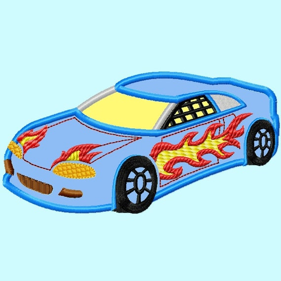 Race Car in Flames APPLIQUE Embroidery Design 4 sizes INSTANT DOWNLOAD