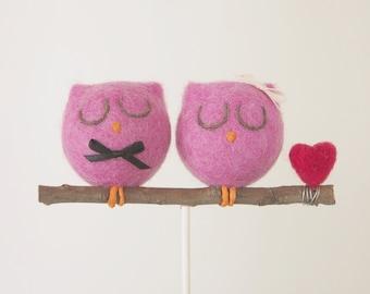 Owl Wedding Cake Topper, Needle Felted Owl Wedding Cake Topper, Pink Bird Bride Groom Figurine, Cute Unique Rustic Wedding Cake Topper