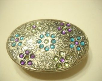 VARIOUS COLORED CABOCHONS Belt Buckle (1493)