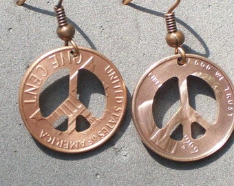 New Style Peace sign Penny Earrings  a perfect inexpensive, and personal gift peace sign jewelry