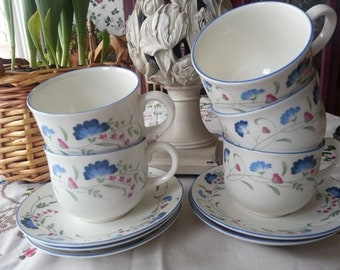 Gorgeous Set X5 of Royal Doulton Expressions Winderemere Cups and Saucers, Engish China, MICROWAVE SAFE!