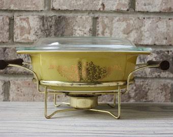 Vintage Pyrex Golden Garland flowers casserole dish with brass stand wooden handles warmer glass lid #043