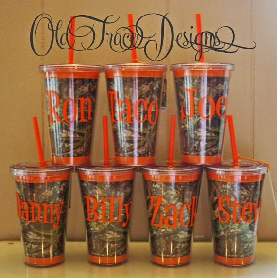 Camo Personalized Straw Cup Orange Cup Make Great