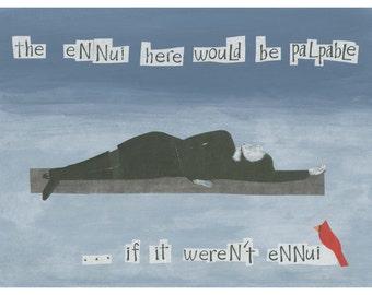 Frameable greeting card.  Collage art.  Ironic humor.  Dark humor.  Humor.  Blank Inside.