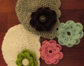 Scalloped Beanie with Removable Accent Flowers