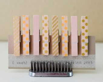 SALE! Washi Tape Covered Clothespins Set of 8 Mini Clothespins Gold Peach Pink