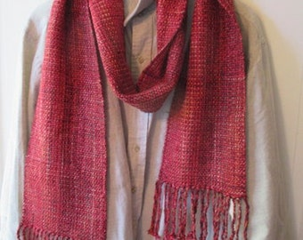 "Scarf,  Red-Cranberry,     Handwoven silk ,linen, rayon scarf ,      86""  by 7""  wide"