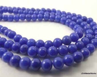 Mountain Jade Round Beads, Lapis Blue, 4mm, 16 Inch Strand, Whole Strand
