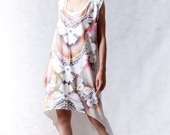 NO.100 Cream Cotton Jersey Hi-Low Dress, Multi-Colour Butterfly And Flower Motif Printed Sleeveless Dress