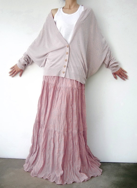 NO.5 Pink Cotton Gauze, Hippie Gypsy Boho Tiered Long Peasant Skirt