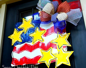 4th of July Flag Patriotic Wreath | Patriotic Wreath | 4th of July Decor | Memorial Day Wreath | 4th of July Door Hanger American Flag Decor