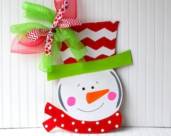 Door Hanger: Snowman, Christmas Decor, Christmas Door Hanger, Holiday Decor, Chevron Christmas