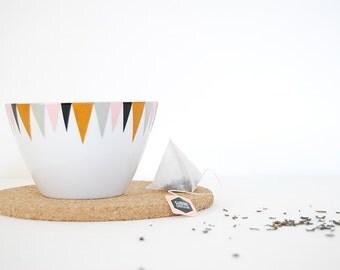Bowl Grey and Pink . Geometric Patterns . French Porcelain Quality . Ramekin . Aperitif . Kitchen Gift . Bowl Handpainted