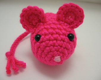 Cat Toy - Crochet Mouse - Catnip Filled Neon Pink Mouse