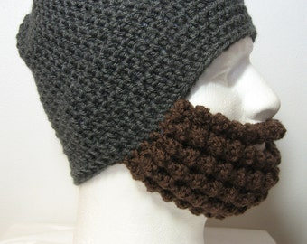 Crochet Bearded Skullcap - Beard Hat - Dark Grey Hat With Beard Face Warmer - Ready To Ship!