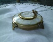 FREE SHIPPING/USA - Antique Mother of Pearl and Brass Footed Purse Ash Tray Smoking Tobaccoania Collectible