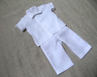 Baby boy linen shirt bow tie Ring bearer white shirt by Graccia