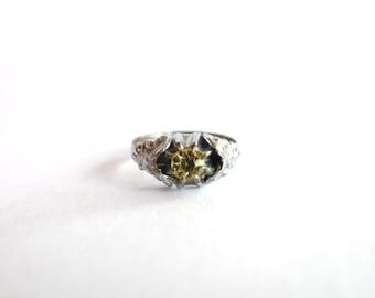 Art Nouveau Silver Citrine Ring Size 5
