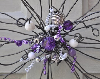 flower wire with purple, white and silver center beading