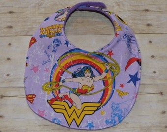Wonder Woman Baby Bib with Lavender Background