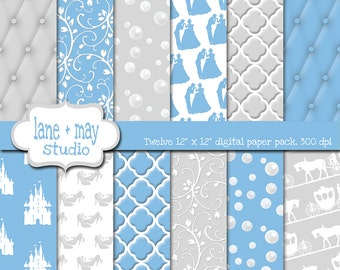 digital scrapbook papers - blue and silver cinderella patterns - INSTANT DOWNLOAD