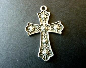 Antiqued Silvertone Cross Fleur di Lis Focal Cross Pendant