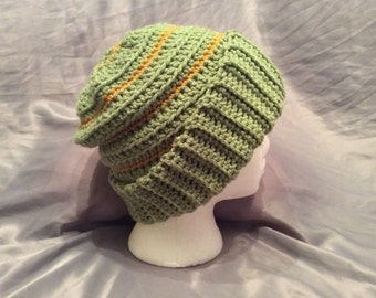 Adult Crochet Slouchy Green and Gold Hat