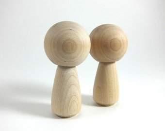 2 Wood Peg Dolls - Kokeshi Dolls Big Head Wooden Wooden Figurine - DIY Wedding Cake Topper
