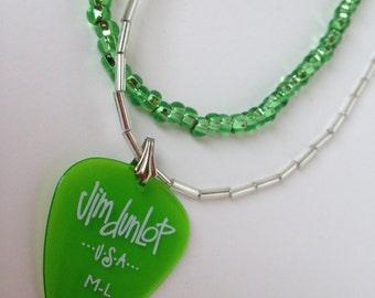 Green Jim Dunlop Guitar pick necklace
