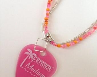 Pink fender guitar pick bracelet