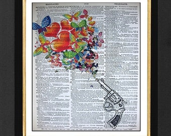 Flower and Peace  -ORIGINAL ARTWORK Mixed Media art print on 8x10 Vintage Dictionary page, Dictionary art, Dictionary print