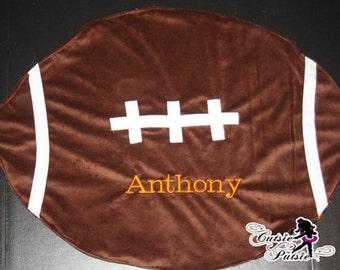 Football Baby Blanket - Custom Football Blanket - Personalized Football Blanket - Football Shaped Blanket - Football Baby