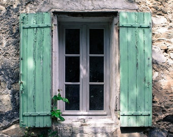 French Turquoise Window Photograph - Provence France Photography - Teal Shutters - Rustic French Window - Vintage Print - Vintage Window