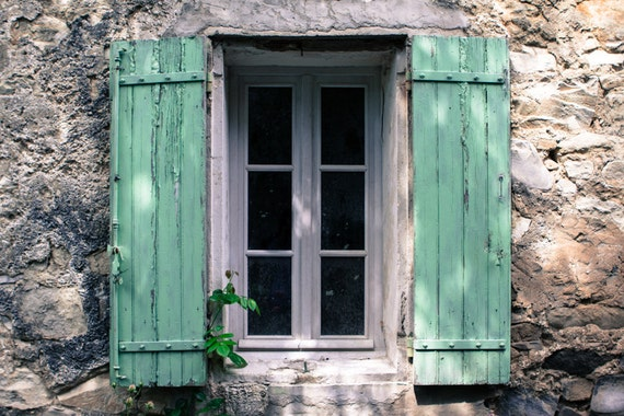 French Turquoise Window Photograph Provence France