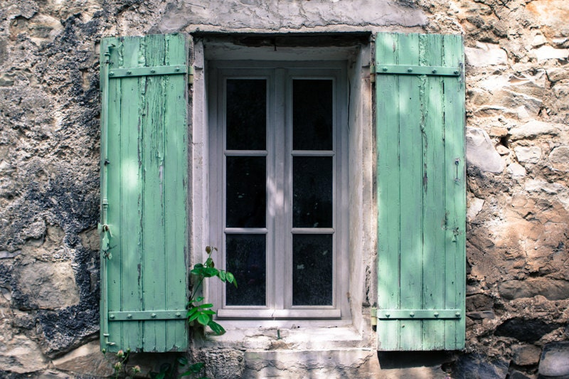 French turquoise window photograph provence france for French country window shutters