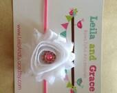 White Shabby Chic Flower Headband with Rhinestone Center- Baby Headbands-Toddler Headbands-Infant Headbands, Easter