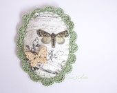 Green brooch, Lace Brooch, Oval brooch, Fabric brooch, butterfly brooch, romantic jewelry, shabby chic jewelry, crochet jewlery