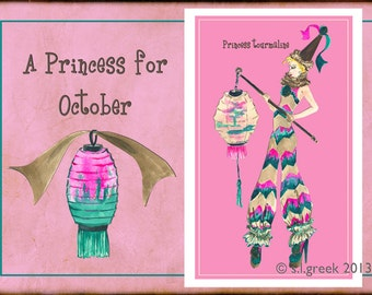 "Princess Tourmaline fashion illustration-Greeting Card (5.5""x8"")"