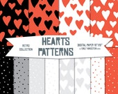 Seamless Hearts Patterns - Digital Scrapbook Paper Pack - Red and White - Retro  - Web, blog Graphics