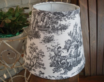 Black and white Toile Lampshade french toile clip lampshade