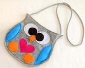 Felt bag owl, gray, children, gift,christmas gift, girl, handmade in italy