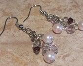 Rose Pearl Cluster Dangle Earrings