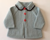 Light Blue Vintage Style Cardigan to fit NB-3months, 3-6 months and 6-12 months. Made to order.