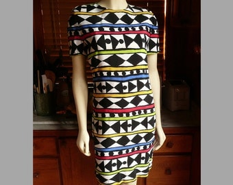 Vintage 80s 90s Maggy London Bold Abstract Sheath Dress Hipster Hip Hop M 10
