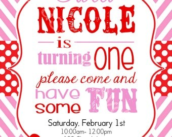 Valentine BIRTHDAY Party Invitation 5x7 red polka dot, pink chevron