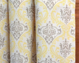 SUMMER SALE! Curtains, Window Treatments, Curtain Panels 24W or 50W x 63, 84, 90, 96 or 108L Madison Damask Sunny Yellow Taupe Natural