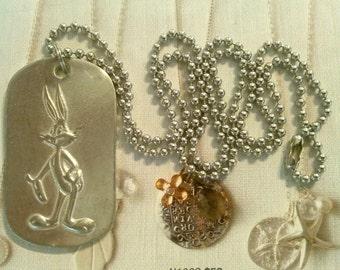 "1 Vintage 1993 W.B. Bugs Bunny Dog Tag 24"" Necklace"