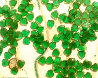 72 Lucite Emerald Green Faceted Hearts