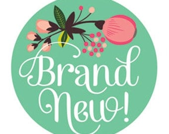 Newborn Monthly Baby Sticker - Just Born - Floral Hand Lettering Design by Lucy Darling