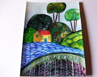 Landscape Original Painting Landscape House Tree Decor Landscape Green Blue Sky Water Landscape Wall Art Fine Art Gouache Ink Watercolor Art